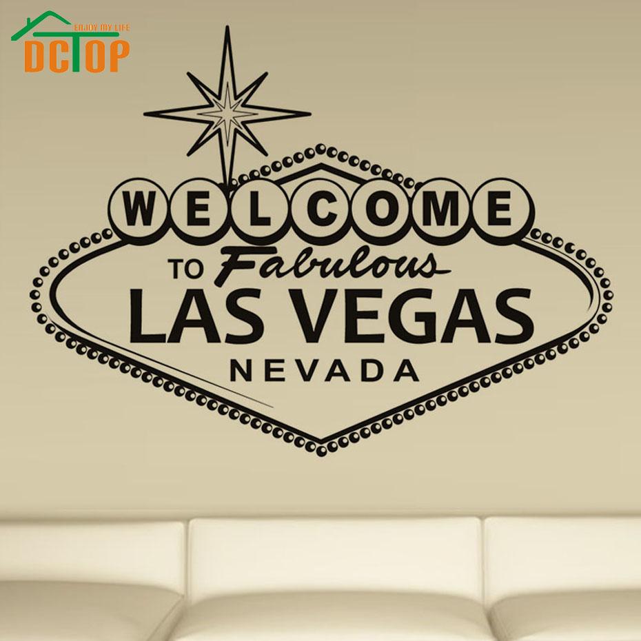 DCTOP Willkommen Fabulous Las Vegas Kunst Wandaufkleber Englisch Charakter Vinyl Home Dekorative Wandtattoo Fr Wohnzimmer Wand