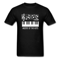 Design Basic Top Piano Keys And Musical Notes T Shirt Men Casual Summer Print Pure Cotton