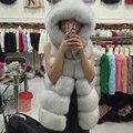 Nueva Imitar Faux Fox Chaleco de Piel Para Mujer 2016 Mujeres de Invierno Con Capucha Outwear Caliente