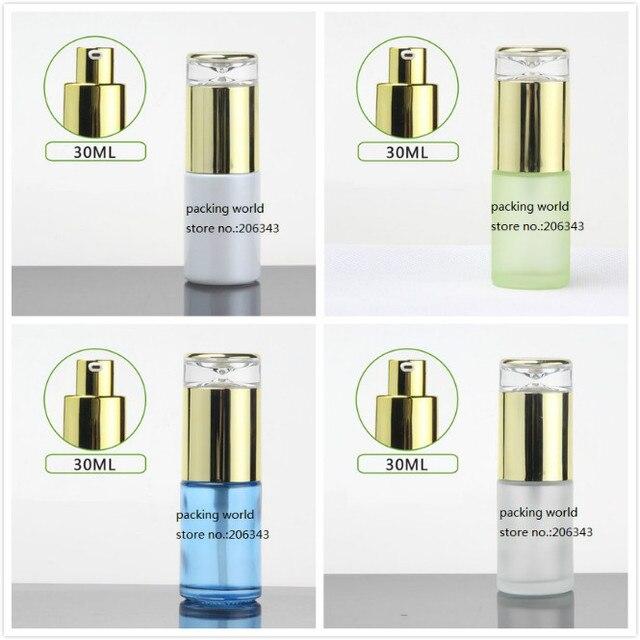 30 ml frosted/groen/blauw/wit glazen fles goud pomp deksel voor serum/lotion/emulsie /foundation/anti uv/essentie/huidverzorging
