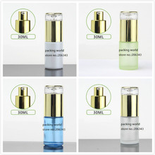 30ml frosted/green/blue/white glass bottle gold pump lid for serum/lotion/emulsion/foundation/anti UV/essence/skin care