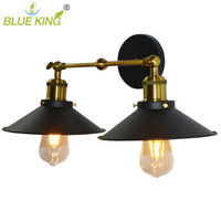 Blueking Retro Industrial Classic Metal Wall Lamp Metal Lamp Shade Parts Double Umbrella Shaped Shade Hotel