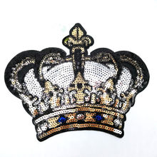 DIY Big Crown Embroidered Patch with Sequins Sew on/Iron on Patch Applique Clothes Curtain Sewing Flowers Applique Home Wedding(China)