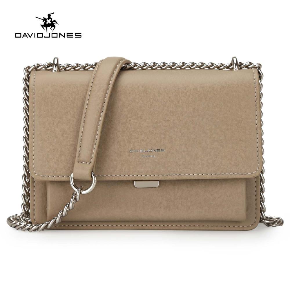 DAVIDJONES women handbag faux leather female crossbody bags small lady chain shoulder bag girl brand messenger bag drop shipping Сумка