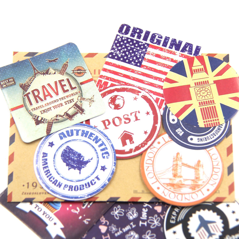 38PCS/Set New High Quality Creative Vintage Themes Stickers Adhesive Stickers DIY For Home&Garden Decoration Wall Stickers