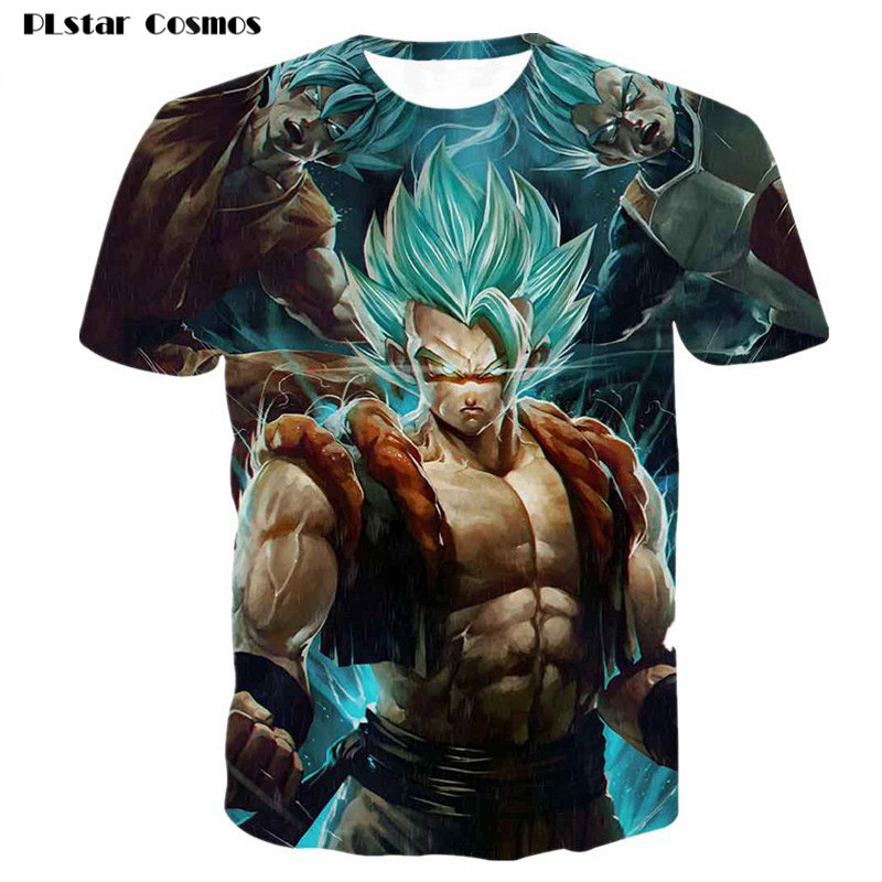 PLstar Cosmos Dragon Ball Z Super Saiyan Muscle t shirt Women/Men Anime Print 3D tshirt o-neck tee tops Hip hop T-Shirt Clothes