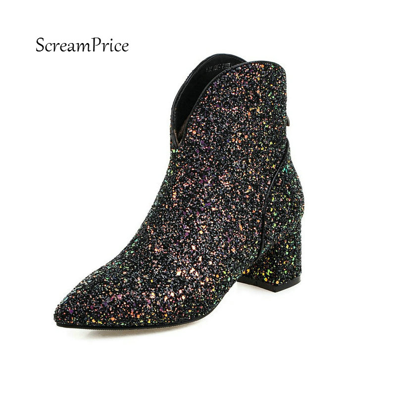 все цены на Bing Low Square Heel Side Zipper Woman New Ankle Boots Fashion Pointed Toe Dress Ladies Boots Black Green Gold Silver