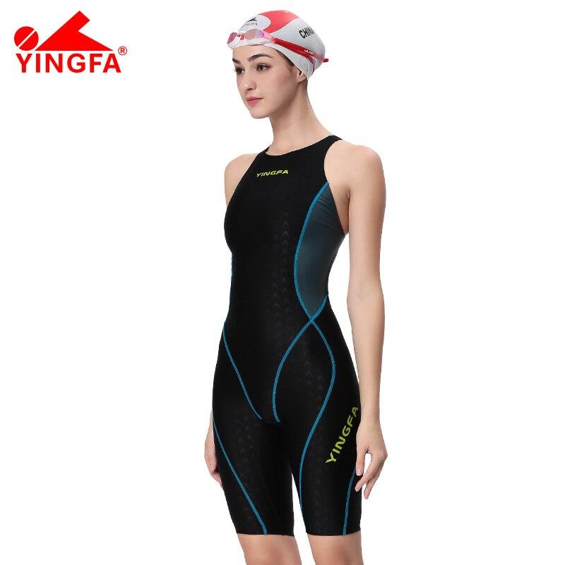 61119ce4e71a Yingfa una pieza competencia rodilla longitud impermeable cloro baja  resistencia mujeres traje de baño sharkskin traje de baño envío gratis