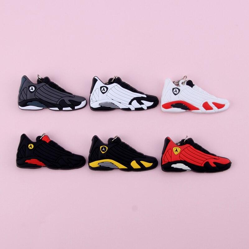 Keychain New Exotic Mini Jordan 14 Retro Shoe Key Chain Men And Women Kids Gift Keyring Basketball Sneaker Key Holder Porte Clef
