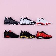Keychain New Exotic Mini Jordan 14 Retro Shoe Key Chain Men and Women Kids Gift Keyring Basketball Sneaker Holder Porte Clef