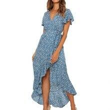 Women Boho Floral Print Beach Dress Casual Summer Chiffon Long Maxi Dress V-Neck Ruffles Bodycon Wrap High Waist Party Dress