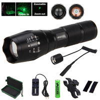 Tactical 5000 Lumens Q5 LED Light Adjustable Focus Flashlight Green/Red Torch +Gun Mount+18650 Battery+Remote Pressure Switch
