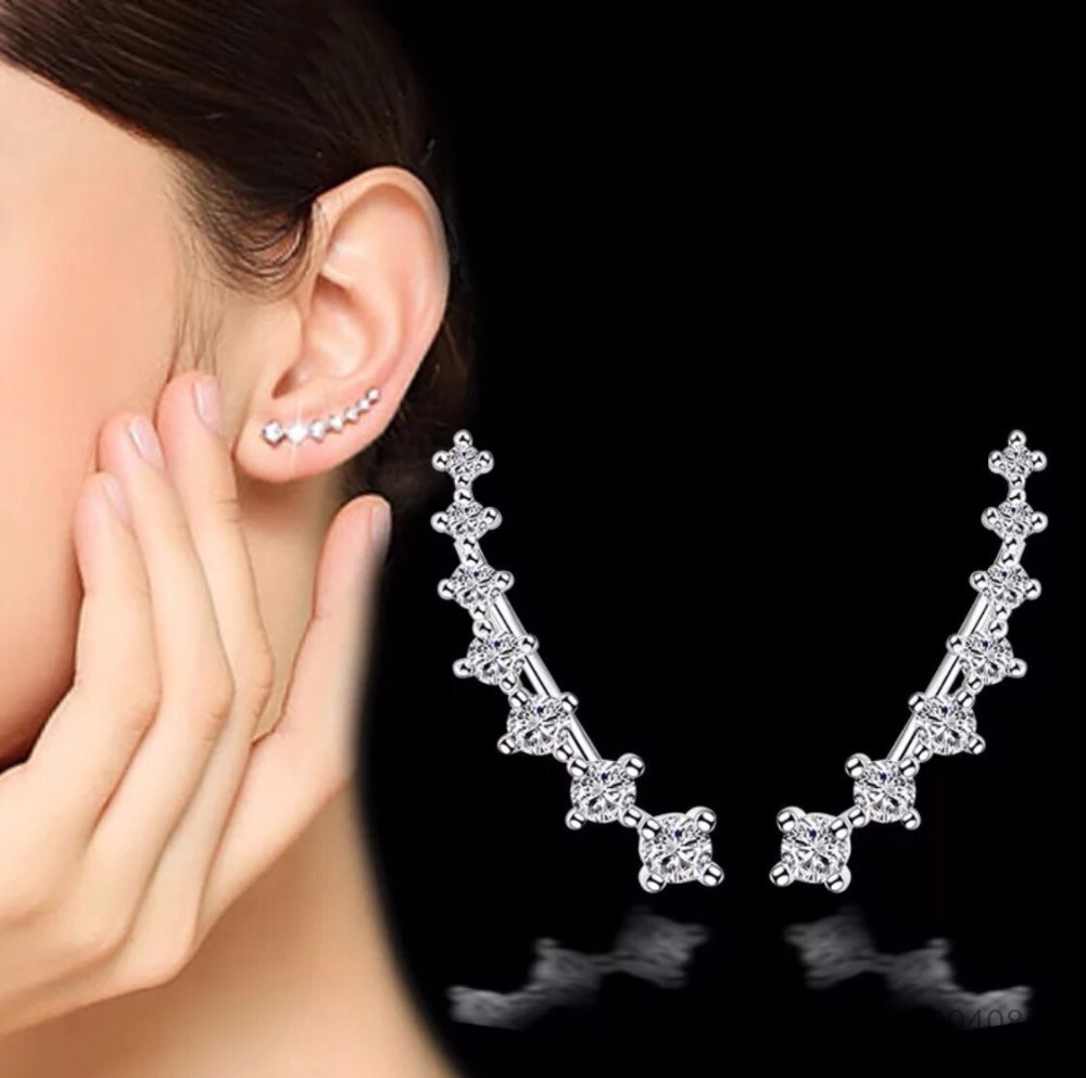 100% Genuine Real Pure Solid 925 Sterling Silver Earrings For Women Jewelry Ear Cuff Cubic Zirconia Female  Clip Earrings Bijoux