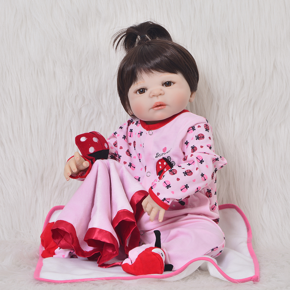 Fashion 23Inch Reborn Baby Girl Doll Full Silicone Vinyl Baby Reborn Realistic Princess Baby Doll For Childrens Day Gifts dollsFashion 23Inch Reborn Baby Girl Doll Full Silicone Vinyl Baby Reborn Realistic Princess Baby Doll For Childrens Day Gifts dolls