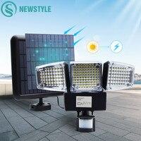 1000LM 188 светодиодный светильник на солнечной батарее, датчик движения, Лампа безопасности, водонепроницаемая, с тремя головками, Наружный св...