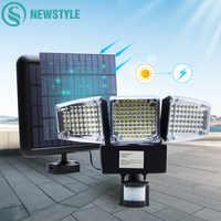 1000LM 188 Ha Condotto La Luce Solare Del Sensore di Movimento Lampada di Sicurezza Impermeabile Tre Testa Luce Esterna per Ingressi, Patio, cortile, Gardren