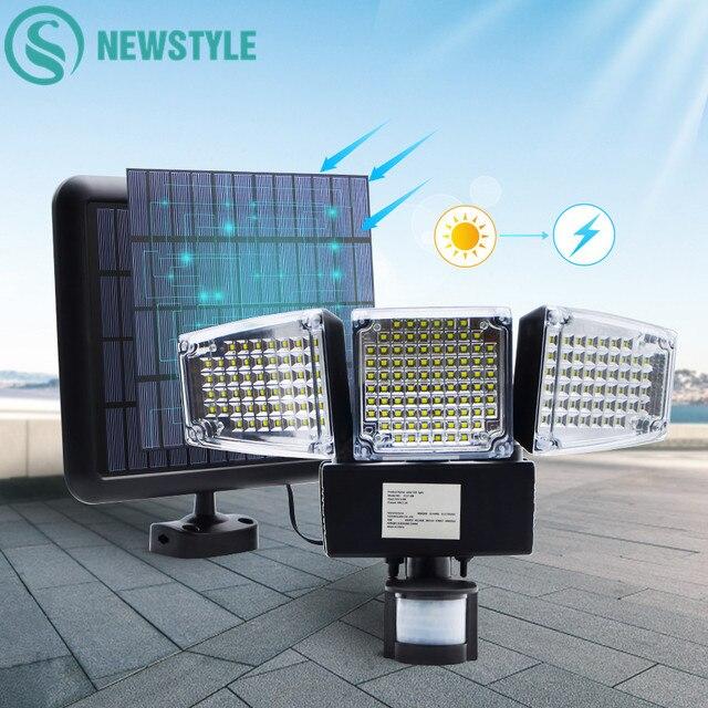 1000lm 188 led luz solar sensor de movimento lâmpada segurança à prova dthree água três cabeça luz ao ar livre para entradas, pátio, quintal, gardren