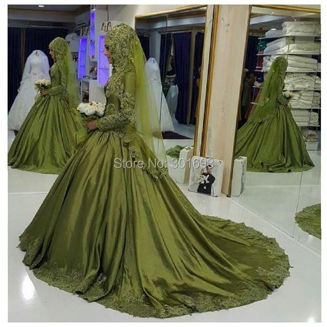 Oumeiya OW549 Lime Green Satin Princess Ball Gown High Neck Long Sleeve font b Hijab b