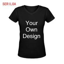 Женская футболка с v образным вырезом коротким рукавом и принтом