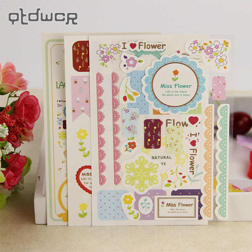 3PCS/Set Korea Creative Lace Paper Sticker Calendar Diary Book Sticker Scrapbook Decoration Office Stationery Gift
