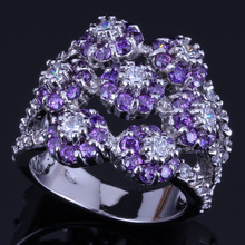 Flawless Huge Flower Purple Cubic Zirconia White CZ 925 Sterling Silver Ring For Women V0549