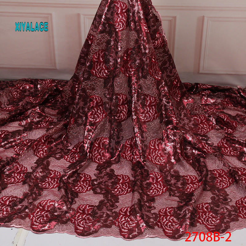 2019 High Quality Lace Wine Red African Sequins Lace Fabrics Nigerian Tulle Lace Fabric Bride French Net Lace Fabric YA2708B-2