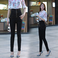 Autumn and winter lace buttoned high waist fat MM large size abdomen was thin pencil denim trousers