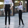 Outono e inverno rendas abotoado alta abdômen cintura MM de gordura de grande porte era magro calças jeans lápis