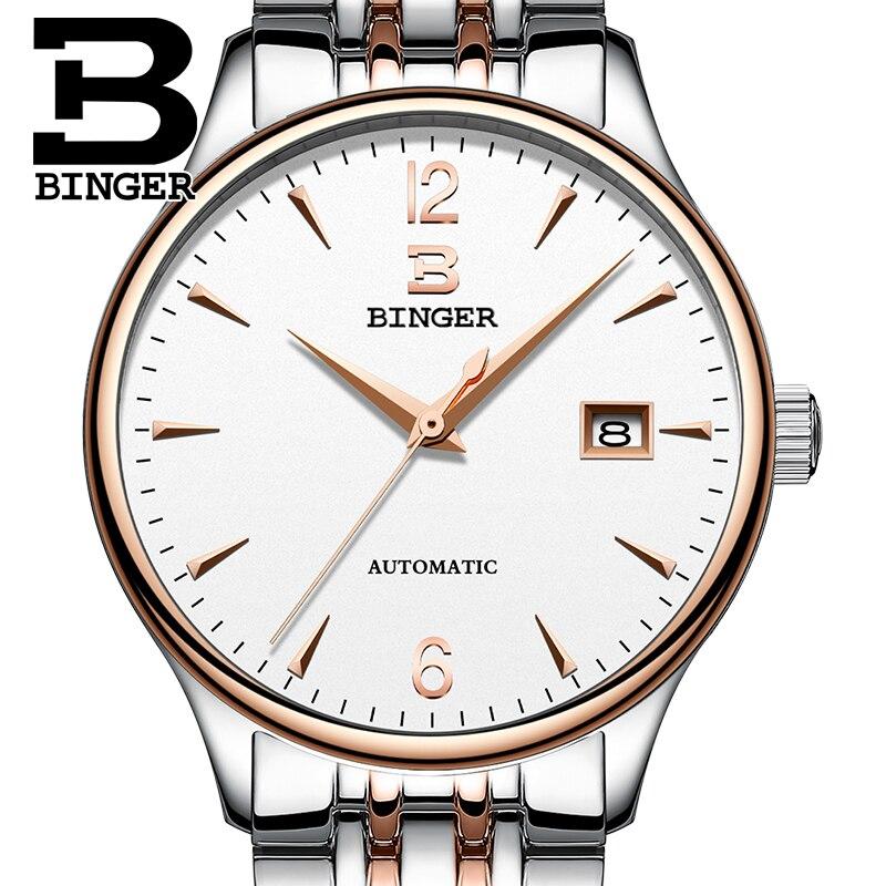 Suisse Automatique Mécanique Hommes Montres Binger Marque De Luxe Montre Homme Sapphire horloge Étanche relogio masculino B-5082M-3