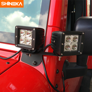Image 5 - Shineka車ユニバーサルledワークライト柱フード取付ブラケット用ジープラングラーjk 2007 2017 外装部品