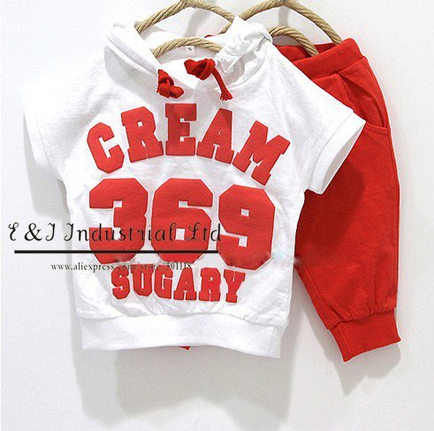 Free Shipping Hot Sell Baby Red suits boys 369 short sleeve hoodies pants clothing set yellow red Size:90-100-110-120-130