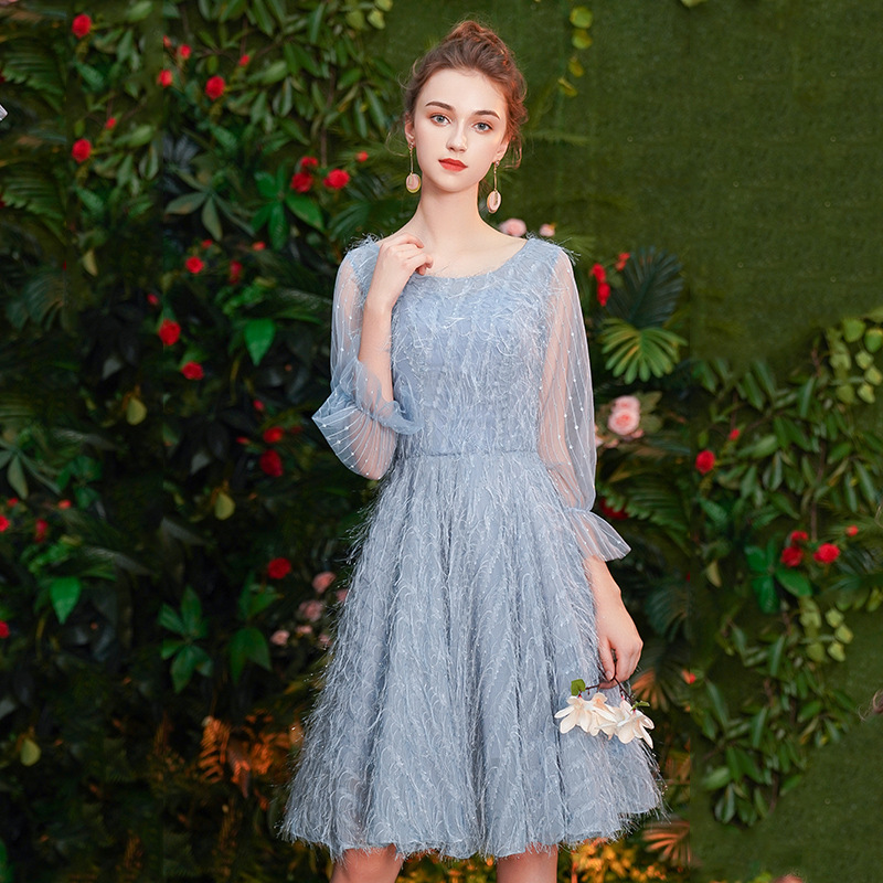 Cocktail Dresses V-neck Women Half-sleeves Party Dress Royal Crystal 2019 Plus Size Lace Up Short Blue Formal Robe Cocktail E413
