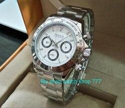Szafirowy kryształ 39mm PARNIS japoński mechanizm kwarcowy zegarek męski wielofunkcyjne zegarki kwarcowe 5Bar pa25 w Zegarki kwarcowe od Zegarki na