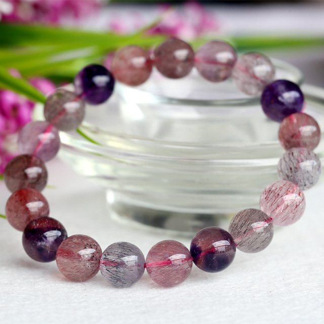 Wholesale Natural Genuine Multi Colors Mix Super Seven 7 Finish Stretch Bracelet Round Beads Melody Stone 10mm 04030