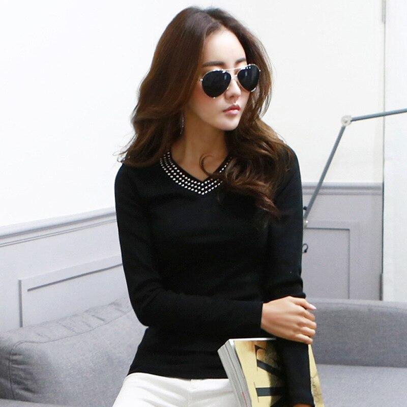 New Fashion Rivet V-Neck White Shirt Women Tops 2017 Autumn Solid Long Sleeve Cotton Slim Woman Clothes Sexy Black Blouses Femme