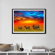 5D DIY Full Circle Diamond Painting Painted Animal Elephant Sunset Mosaic Embroidery Cross
