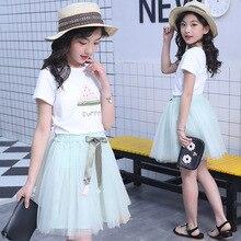 kids clothes Girls summer suit 2019 new 4-12 years girls fashion round neck T-shirt mesh fluffy skirt childrens