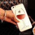Lovecom para iphone 4 4s 5 5s se 5c 6 6 s 7 além de telefone case areia movediça líquido vinho tinto transparente limpar disco pc back cobrir