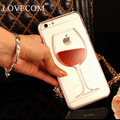 Lovecom para iphone 4 4s 5 5s se 5c 6 6 s 7 plus phone case quicksand líquido vino tinto transparente duro claro pc cubierta