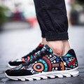 Мужская мода геометрия мужчины холст обувь 2016 шнуровке новый горячий стильный дышащая мужская повседневная обувь
