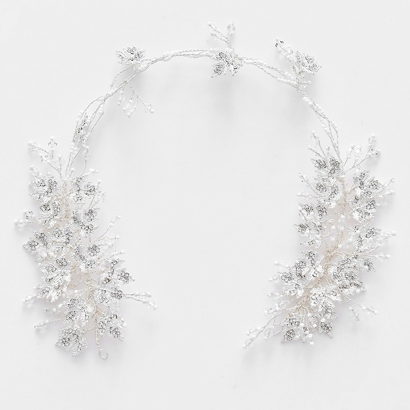 Dower me feuille d'argent bijoux de cheveux de mariée bandeau perles tiare couronne accessoires de mariage pièce de cheveux pour les femmes de bal