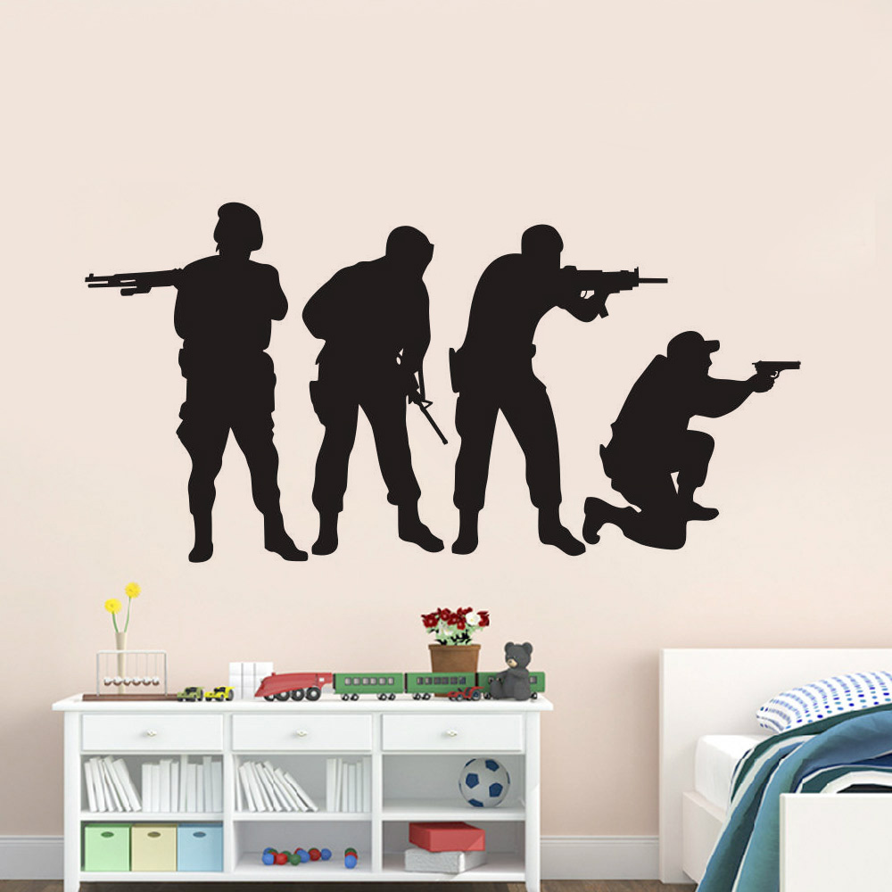 Us 894 Military Swat Team Army Men Vinyl Wall Decal Stickers Home Decor Bedroom Art Mural Wallpaper In Wall Stickers From Home Garden On