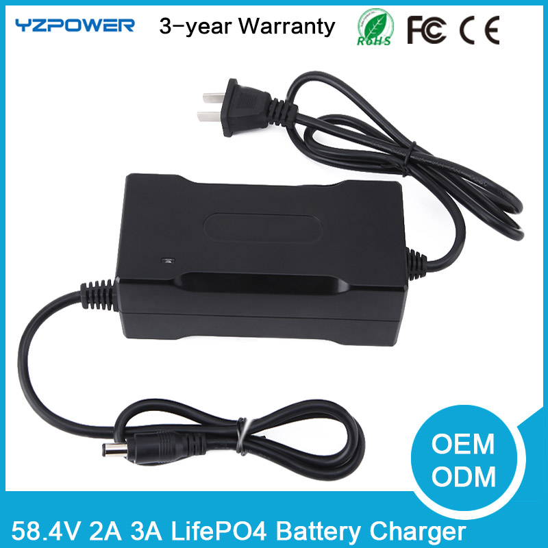 YZPOWER 58 4V 3A 3 5A 4A Intelligent LifePO4 Battery Charger For 16S 48V Lifepo4 Battery