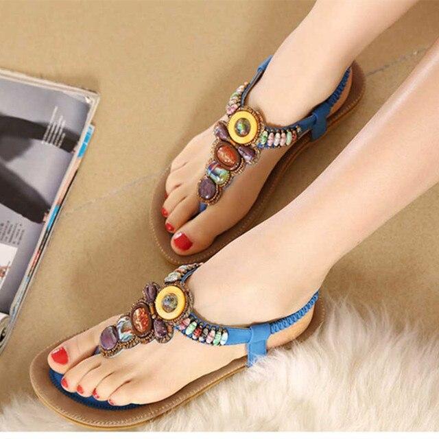 Bohemia Style Woman Sandals Ladies Summer Beach Flat Sandals Flip Flops Shoes Exotic Beads Women Shoe Zapatos Mujer Sandalias