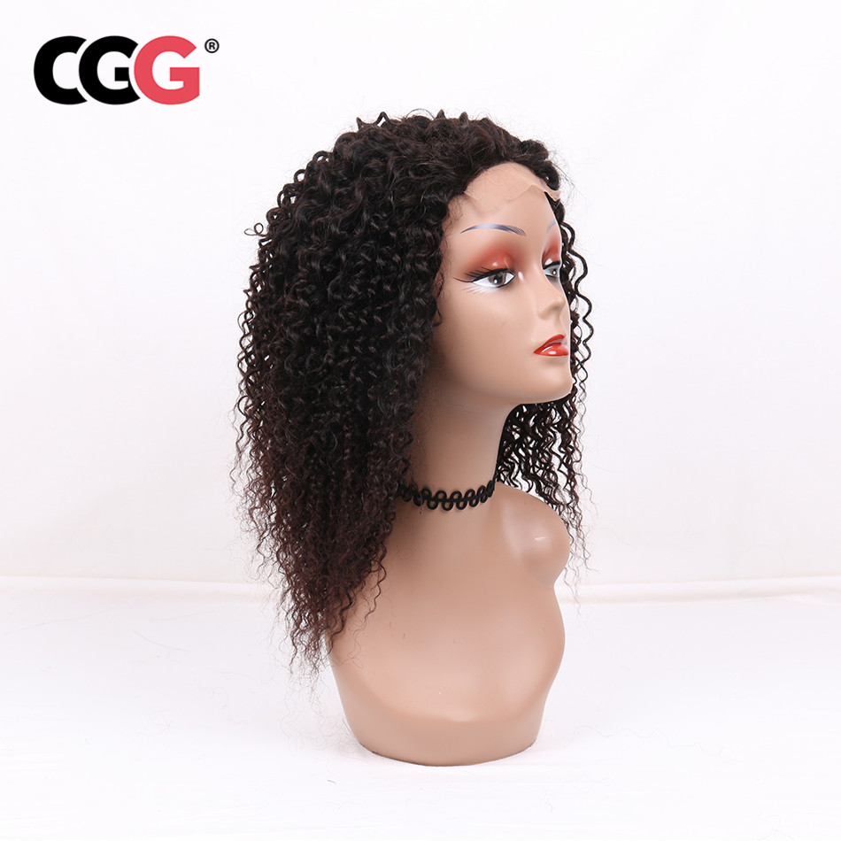 CGG Non-Remy 4*4 Lace Frontal Kinky Curly Human Hair Wigs With Baby Hair Brazilian Hair For Black Women Natural Color