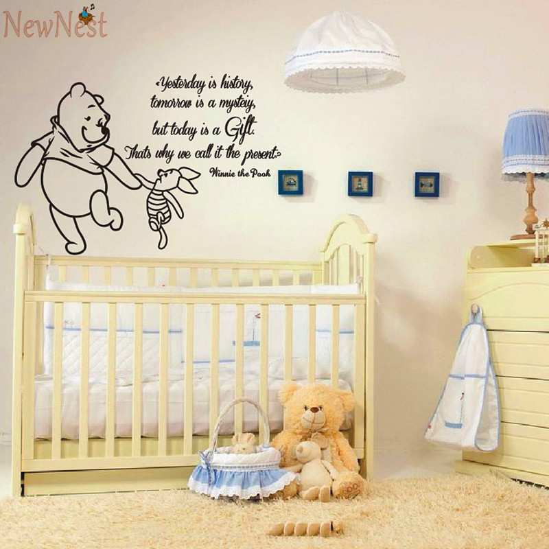 winnie the pooh wandtattoos ferkel zitate kinder vinyl aufkleber aufkleber baby kinder kunstwand. Black Bedroom Furniture Sets. Home Design Ideas