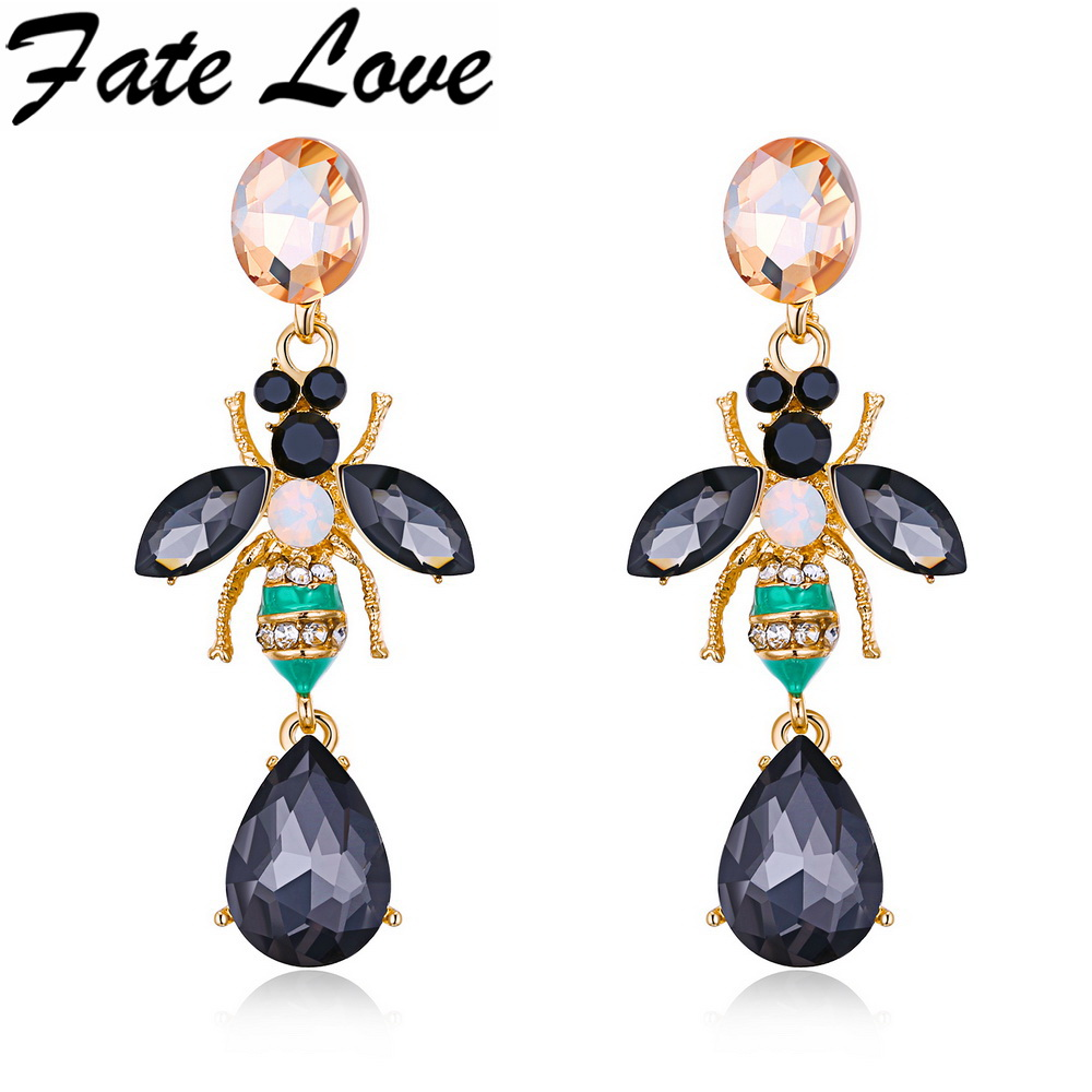 Fate Love Hot Buy New Design High Quality Elegant Gold/White Color Delicate Rhinestone Crystal Earrings Insect Bee Jewelry FL711