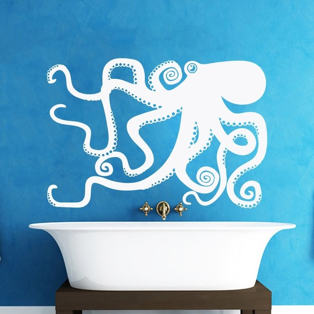 Haushaltswaren Octopus Aufkleber Schlafzimmer Wandtattoo Octopus Wand  Grafik Wand Badezimmer Aufkleber Wohnzimmer Aufkleber 153 Cm X