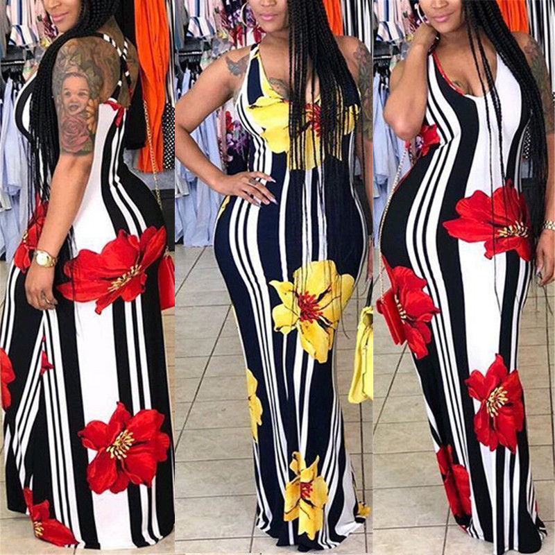 Women Ladies Long Maxi Dress Bodycon Sleeveless Floral Long Evening Party Dress Casual Summer Dress Plus Size