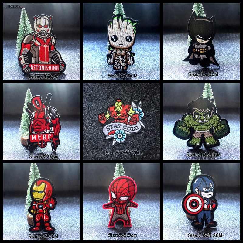 Nicediy Avengers เย็บปักถักร้อย Patch เหล็กบนแพทช์สำหรับเสื้อผ้า Applique บนเสื้อผ้า Spiderman Marvel Moive Patch Stripe DIY Badge